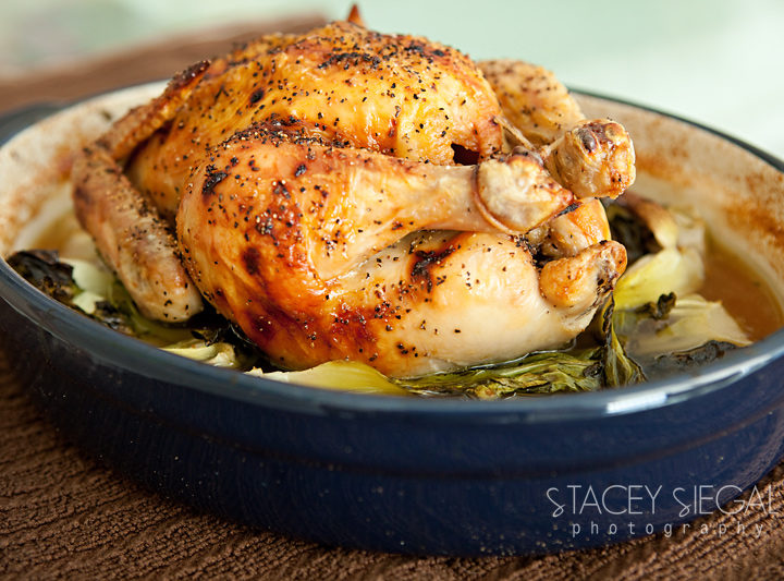 Roast Chicken with Shallots and Baby Bok Choy