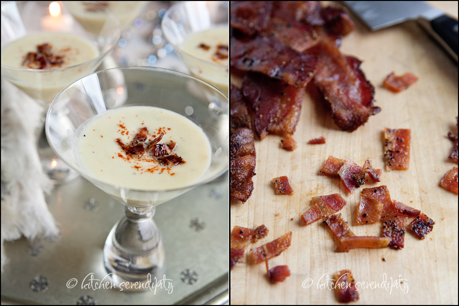 Creamy Celery Rppt Soup with Black Pepper Bacon Crumbles from kitchenserendipity.com