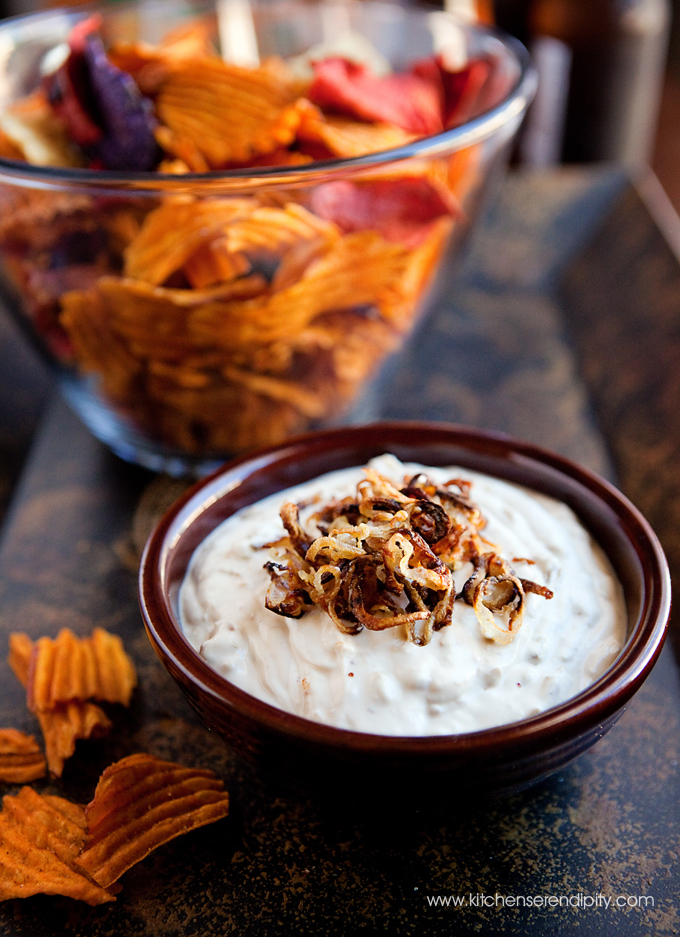bourbon and caramelized shallot dip
