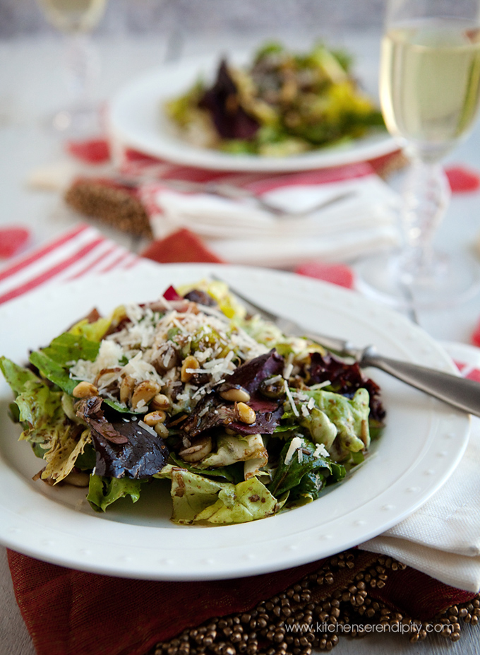 swoon winter salad with pine nuts and sizzling warm vinaigrette
