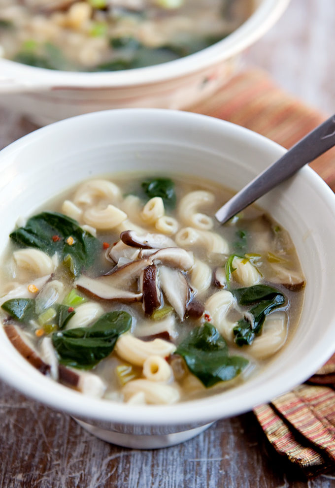 shiitake broth with macaroni and spinach